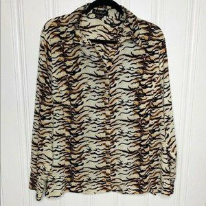 Ashley Stewart Animal Print Button Front Blouse 20